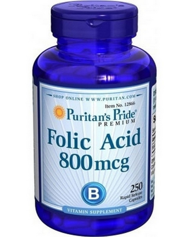 Folic Acid 800 mg. 250 tab. Puritan's Pride – «СпортМеню»