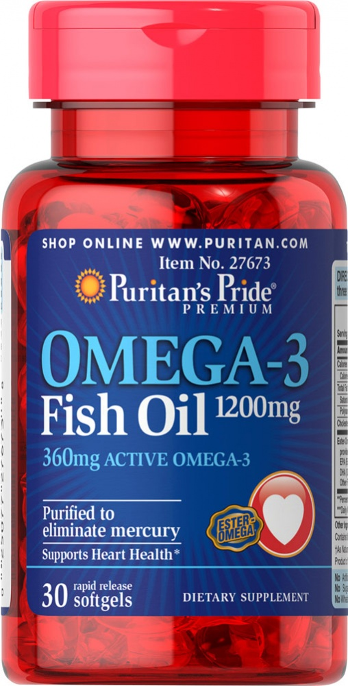 Omega-3 Fish Oil 1000 mg 100 caps. Puritan's Pride – «СпортМеню»
