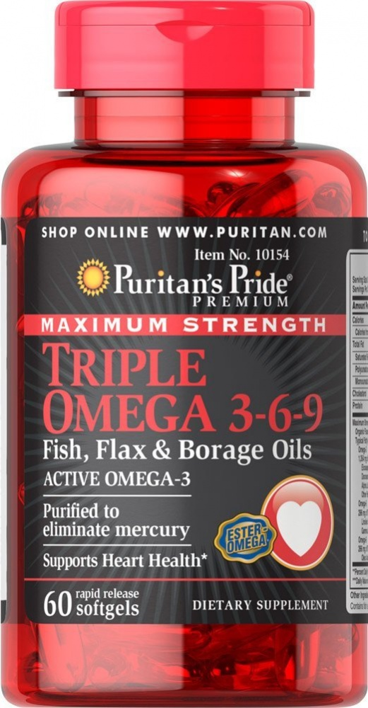 Triple Omega 3-6-9 Maximum Strength 60 Softgels Puritan's Pride – «СпортМеню»