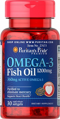 Omega-3 Fish Oil 1000 mg 100 caps. Puritan's Pride